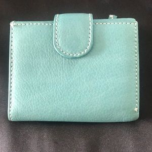 Handbags - Genuine Leather Turquoise Wallet